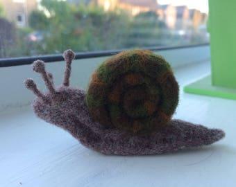 Cute Needle Felted Garden Snail Figure