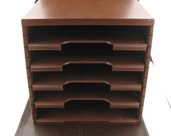 Vintage Mid Century Brown Metal Desktop File Cabinet Tray, Vintage Portable Metal Tray, Vintage Storage Mancave Office Decor