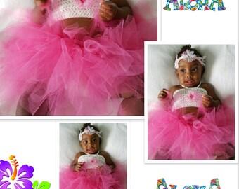 Infant Girls' Aloha Crochet Bandeau Top, Tutu & Headband