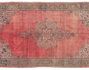 """4'8""""x 7'7'' Hand knotted wool Vintage Turkish Rug, Red Sivas Anatolian Rug, traditional oushak faded rug, Ethnic old antique red area rug,"""