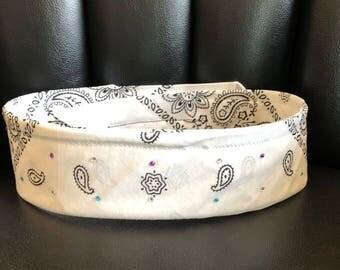 Rhinestone bandana white
