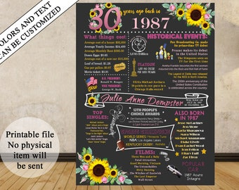 30th Birthday Gift 1987 Printable Chalkboard Poster Sign, 30th B-day Poster, 30 Years Ago, Born in 1987, 1987