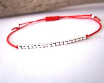 Bracelet silver plated geometric beads