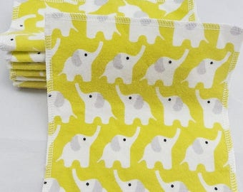 8 Reusable Organic Cloth Wipes - Elephant print. Baby Wipes. Wash Cloths. Pesticide Free. Eco-friendly.