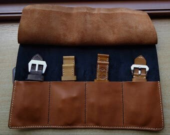 Handmade 2 color leather watch,strap pouch