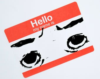 10 Hello My Name Is Trianglefox Stickers. Hand Printed, Hand Carved Linocut Linoprint