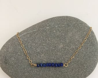 Lapis Bar Layering Gemstone Necklace on Delicate Gold Chain