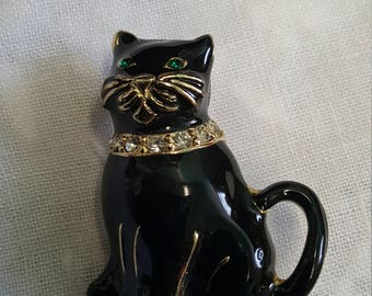 Vintage Monet Black Cat Brooch