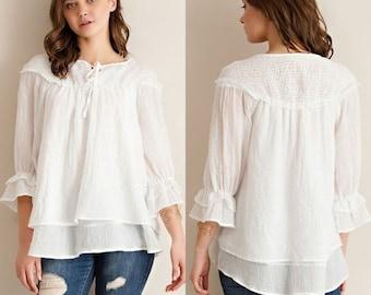Threadzwear White Layered Peasant Blouse