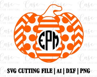 Monogram Pumpkin SVG Cutting File, Dxf, Png and Ai | Instant Download | Cricut and Silhouette | Fall | Harvest | Chevron | Halloween