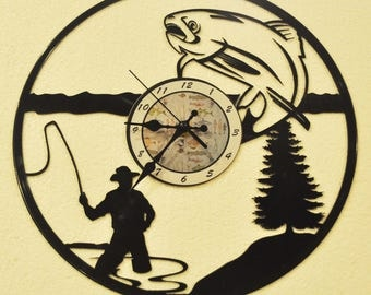 Fishing Lake themed Vinyl Album Record Clock made in the > USA < with FREE Shipping!
