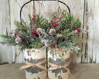 A Primitive Double Winter Arrangement, Distressed Tin Christmas Centerpiece, FAAP, Holiday Arrangement, Christmas Arrangement