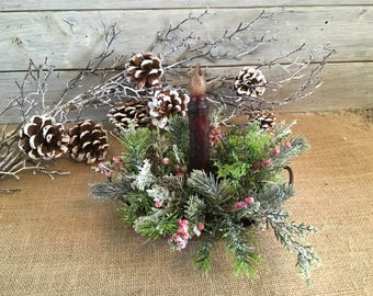 Oval Rusty Metal Candle Holder Winter Arrangement, Christmas Candleholder with Timed Candle, Holiday Decor, FAAP