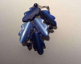 Lisner Blue Acorn Leaf Brooch