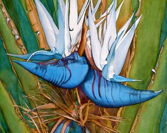 Bird of paradise,  watercolor giclee art print tropical exotic colorful blues and white by Phyllis Nathans