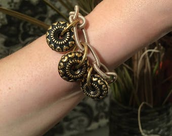 Woven Linked Bracelet with Decorative Circular Elements