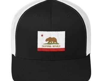 California Trucker Hat - California Hat - California Cap - California - California Flag Hat - California Flag - California Republic - Cali