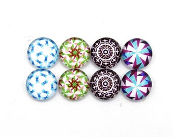 """8 cabochons round glass mixte12mm series 1 """"2"""""""