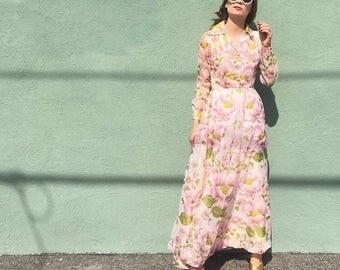 Vintage pink floral maxi dress circa 70's - size xs