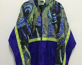 SALE 25% Vintage 90s Asics Windbreaker Jacket Size XL