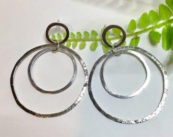 Sterling Silver Hoop Earrings, Silver Post Earrings, Large Earrings, Oxidized Earrings, Organic Earrings, Silver Post Earrings, Item #1014