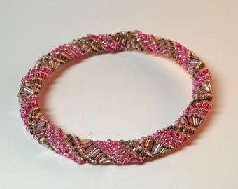 Pink Glass Bead Bangle Bracelet