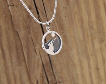 Sterling Silver Howling Wolf And Moon Mountain Charm Pendant Necklace Desert Power Animal