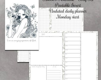 A6 insert TN insert, undated printable, undated daily planner, daily organizer, daily planner pages, daily schedule pdf, daily to do list