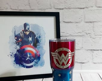 Wonder Woman tumbler/superhero tumbler/powder coated tumbler/30oz powder coated tumbler/custom powder coated tumbler/wonder woman cup