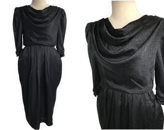 Vintage 50s /Pencil Dress/Black Dress /Pencil Skirt /Genetpelsone Japanese Polyester