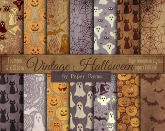 Vintage Halloween, digital paper, backgrounds, scrapbook paper, shabby halloween, antique halloween, patterns, old halloween, DOWNLOAD