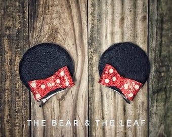Minnie Ear Clips, Minnie Mouse Ears, Minnie Mouse Hair Clips, Minnie Mouse Bows, Girls Bows, Hair Bow, Felt Bow, Glitter Bow, Handmade