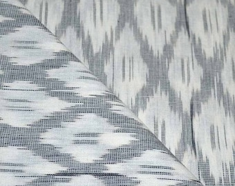 SALE 15% Free Shipping White and Gray Ikat Fabric By The Yard