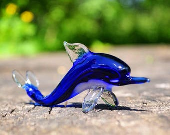 Blue Glass dolphin figurine animals glass dolphins gift miniature art glass toys murano dolphin green small collection figure sculpture