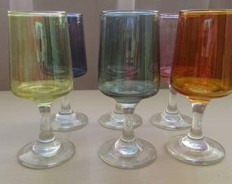 1970 Glasses. Retro Colourful Glasses. Six Coloured Glasses. Multi Coloured 1970 Glasses. Coloured Glasses. Celebration Glass.