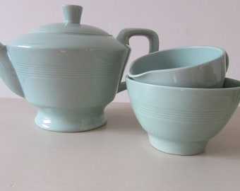 Vintage Gift. Woodsware Beryl Teapot. Sugar Bowl and Milk Jug/1940 Utility Ware