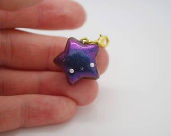 Handmade, polymer clay, colour-shifting, kawaii, star charms