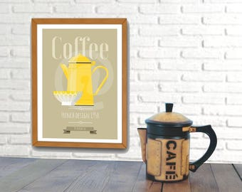 Poster vintage french design, old yellow coffe pot, french style poster.