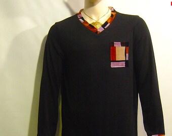 Black Knit velvet  long sleeve TOP