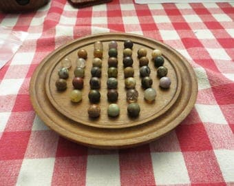 """Rare 6"""" board game and marbles. 37 slots and 38 marbles w/ free ship"""