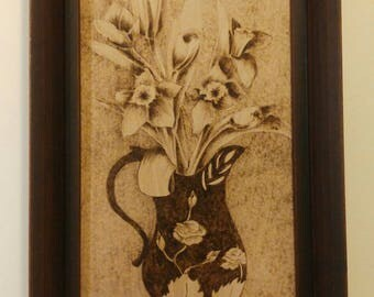 Flower painting, wood burning art, pyrography, gift for her, natural gift, wood art, painting flower, painting on wood,  original artwork