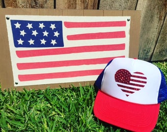 4th of July Trucker Hat, American Flag Hat, Memorial Day Hat. 4th of July Hat
