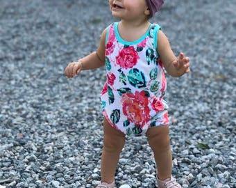 baby romper - toddler romper - floral romper - pixelated floral