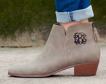 Taupe Hudson Short Boots with Monogram