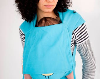 Mai Tai Baby Carrier  It is sewn from Kaya for Newborn and Toddler - natural organic woven jackard - Sweet birds - Azure