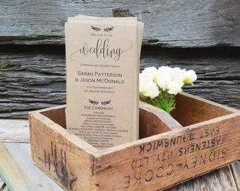 Wedding Program Template, Wedding Program Printable, Instant Download Editable Ceremony Order of Service Program, PDF WLP229