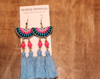 Blue and Pink Tassel Earrings | Colorful Boho Earrings, Tassel Dangle Earrings, Tribal Earrings