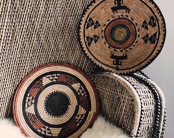 Handwoven bohemian basket set / set of two handmade baskets
