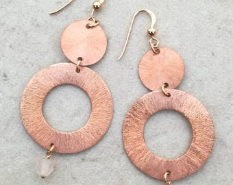Circle earrings 925 Silver rose wine & Rose Quartz