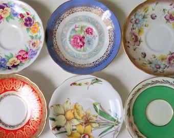 Set Of 6 Vintage Mismatched English Bone China Saucers